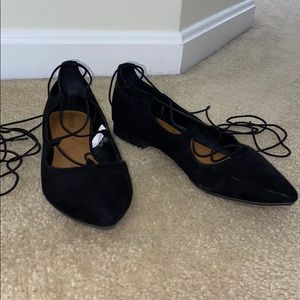 Black Suede lace up ballerina flats
